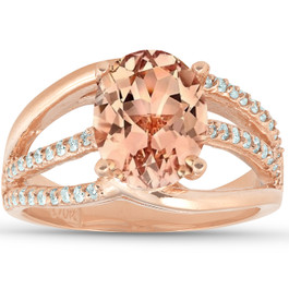 3 Ct TW Large Oval Peach Morganite & Diamond Ring 10k Rose Gold (H/I, I1-I2)