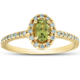 1/2 Ct TW Oval Peridot & Diamond Halo Ring 14k Yellow Gold (H/I, I1-I2)