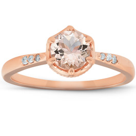 1 Ct TDW Morganite & Diamond Vintage Engagement Ring 14k Rose Gold (H/I, I1-I2)