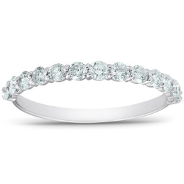 1/2 Ct TDW Diamond Wedding Ring Stackable Womens Anniversary Band 14k White Gold (G/H, I1-I2)