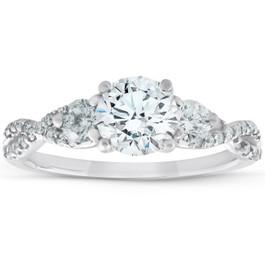 1 1/2Ct Three Stone Diamond & Moissanite Infinity Engagement Ring 14k White Gold (G/H, VS1-VS2)