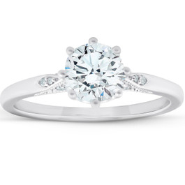 1.05 Ct Diamond Engagement Ring Vintage Accent 14k White Gold 8 Prong (G/H, VS1-VS2)