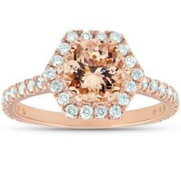 1 5/8 Ct TW Morganite Hexagonal Halo Diamond Ring 14k Rose Gold (H/I, I1-I2)