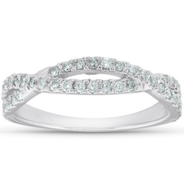 3/8ct Diamond Wedding Ring Womens Infinity Crossover Band 14k White Gold (H/I, I1-I2)