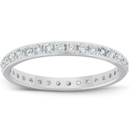 1/2ct Diamond Wedding Ring Womens Eternity Band 10k White Gold (I/J, I2-I3)