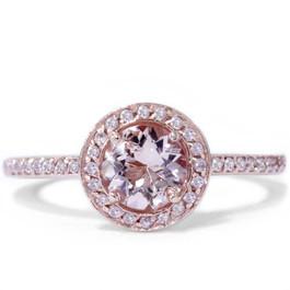7/8ct Morganite & Diamond Engagement Ring 14K Rose Gold Halo Design (H/I, I1-I2)