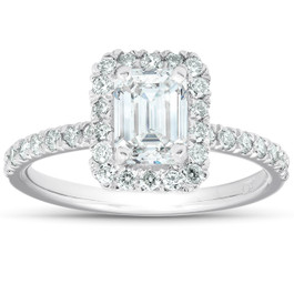 1 1/2 Ct Emerald Cut Diamond Halo Engagement Ring 14k White Gold (H/I, SI2-I1)
