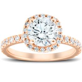 G/VS 2 Ct Moissanite & Diamond Cushion Halo Engagement Ring 14k Rose Gold (G/H, VS1-VS2)