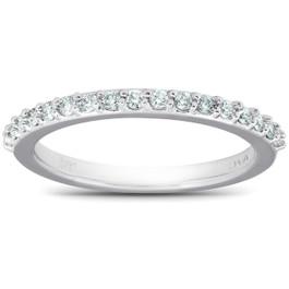 1/4Ct Diamond Ring Matching Engagement Band 17-Stone 14k White Gold (H/I, I1-I2)