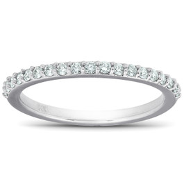 1/4Ct Diamond Ring Matching Engagement Band 14k White Gold (H/I, I1-I2)