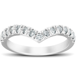 1/2 Ct Diamond Curved V Shape Contour Ring Womens Wedding Band 14k White Gold (H/I, I1-I2)