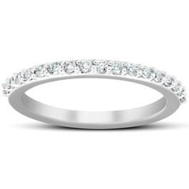 1/4Ct Diamond Ring Matching Stackable Engagement Band 14k White Gold (H/I, I1-I2)