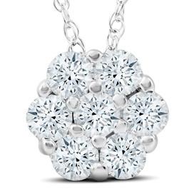 1Ct Diamond Pendant 14k White Gold (G/H, I1)