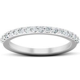 1/4Ct Diamond Ring Matching Guard Engagement Band 14k White Gold (H/I, I1-I2)