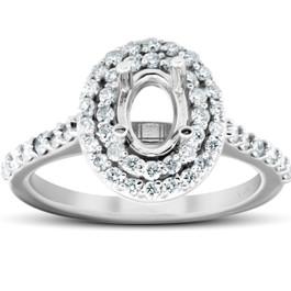 3/4Ct Double Halo Diamond Engagement Ring Oval Setting Semi Mount 14k White Gold (H/I, I1-I2)