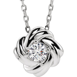1/6 Ct Diamond Solitaire Knot Pendant 14k White Gold Necklace 7.8MM (G-H, I1)