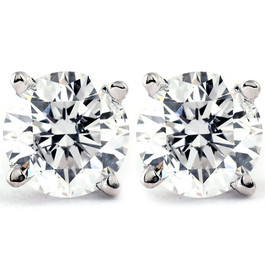 1 Ct TDW Platinum Diamond Screw Back Studs IGI Certified (KL, I2-I3)