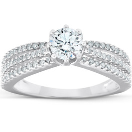 1 Ct Diamond Engagement Ring Multi Row 14k White Gold (H/I, I1-I2)