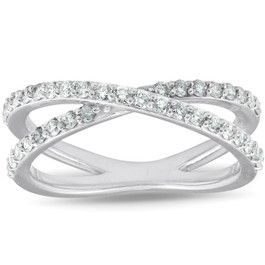 1/2Ct Diamond X Ring Wide Womens Fashion Design Multi Row Band 10k White Gold (H/I, I1-I2)