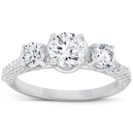 1 1/2 Ct Diamond Three Stone Engagement Pave Ring 14k White Gold (H/I, I1-I2)