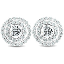 1Ct Diamond Double Halo Studs Screw Back Womens Earrings White Gold 10.2MM (H-I, I2-I3)