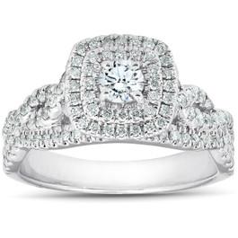 3/4 Ct Diamond Cushion Halo Engagement Ring 14k White Gold (H/I, I1-I2)