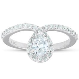 3/4 Ct Pear Shape Halo Diamond Twist Engagement Ring 14k White Gold (G/H, SI2-I1)