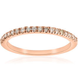 1/4ct Diamond Ring Stackable Engagement Womens Wedding Band 14K Rose Gold (H/I, I1-I2)