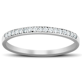 1/5 Ct Diamond Wedding Ring 14k White Gold Stackable Anniverary Band (H/I, I1-I2)