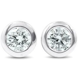 1/4 ctw 14k White Gold Diamond Bezel Martini Stud Earrings Lab Grown (G, VS)