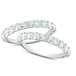 1Ct Diamond Weedding Ring Set 14k White Gold Stackable Engagement Bands (H/I, I1-I2)