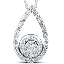 "1 1/10Ct Lab Created Diamond Circle Pear Shape Pendant 14k White Gold 1"" Tall (G/H, VS)"