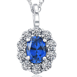 2 ct Oval Created Blue Sapphire & Genuine Diamond Halo Pendant 14K White Gold (G/H, I1)