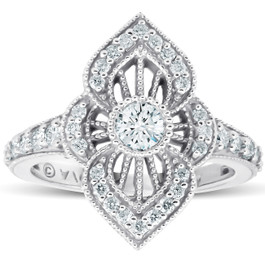 3/4Ct Diamond Marquise Framed Vintage Designer Cocktail Ring 10k White Gold (G/H, I1-I2)