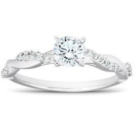 1/2Ct Diamond Infinity Engagement Ring Womens 14k White Gold Interwoven Band (H/I, I1-I2)