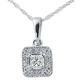 3/8ct Princess Cut Solitaire Halo Vintage Pendant 14K White Gold (G/H, I1)