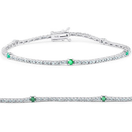 "1 1/10 Ct Diamond & Genuine Green Emerald Tennis Bracelet 14k White Gold 7"" (G/H, I1)"