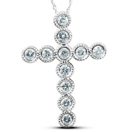 "3/4 Ct Diamond Cross Pendant 14k White Gold & 18"" Chain 1"" Tall (G/H, I1)"