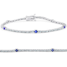 "1 1/10 Ct Diamond & Genuine Blue Sapphire Tennis Bracelet 14k White Gold 7"" (G/H, I1)"
