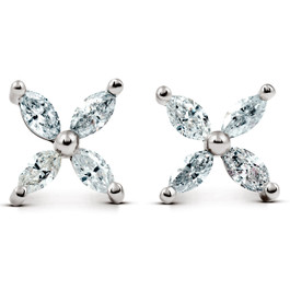 5/8ct Diamond Eight-Stone Marquise Studs 14K White Gold Womens Earrings (G/H, SI2-SI3)