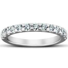 3/4Ct Diamond Wedding Womens Ring Anniversary Stackable Band 14k White Gold (H/I, I1-I2)