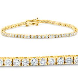 "3 Ct. Diamond 18K Yellow Gold Round Cut Tennis Bracelet 7"" (G/H, I1)"