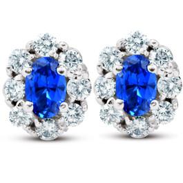3.10 Ct Blue Sapphire & Diamond Halo Studs 14k White Gold Lab Grown (G, VS)