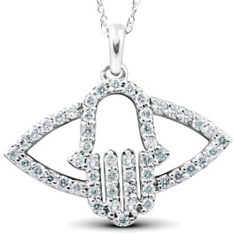 1/2 Ct Diamond Hamsa Evil Eye Hand Pendant 14k White Gold (G/H, I2)