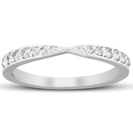 1/4Ct Diamond Stackable Tapered V Shape Womens Wedding Ring 10k White Gold (G/H, I1-I2)