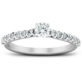 3/4 Ct TDW Diamond Side Stone Engagement Ring 14k White Gold Lab Created (((G-H)), I(1))