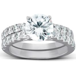 3 1/4 Ct Diamond & Moissanite Engagement Ring 14k White Gold (H/I, SI2-I1)
