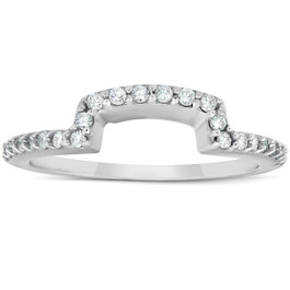1/4Ct Diamond Curved Contour Guard Band Womens Wedding Ring 14k White Gold (G/H, I1-I2)