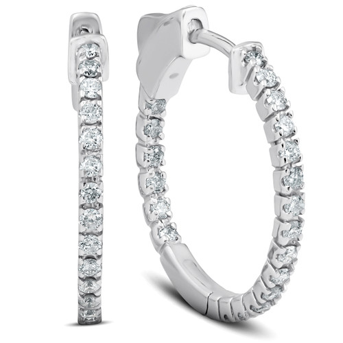"1/2 Ct Diamond Inside Outside Hoops 14k White Gold Vault Lock 1"" Tall (G/H, SI)"