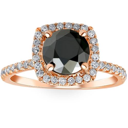 2 1/2 Ct Black & White Diamond Cushion Halo Engagement Ring (H/I, SI1-SI2)